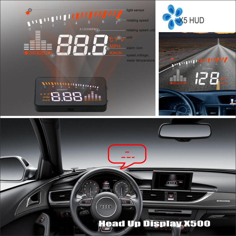 For Audi A6 S6 RS6 C6 C7 - Safe Driving Screen Car HUD Head Up Display Projector Refkecting Windshield radiator cooling fan relay control module for audi a6 c6 s6 4f0959501g 4f0959501c