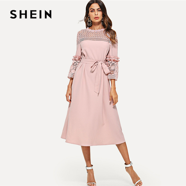 fe56f2e005 SHEIN Lace Yoke and Sleeve Pearl Beading Belted Dress Pink 3/4 Sleeve  Ruffle Straight