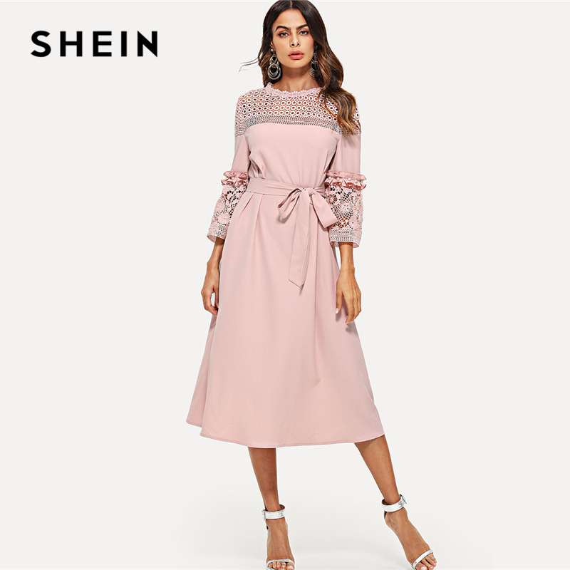 SHEIN Lace Yoke and Sleeve Pearl Beading Belted Dress Pink 3/4 Sleeve Ruffle Straight Tunic Dresses Women Autumn Elegant Dress