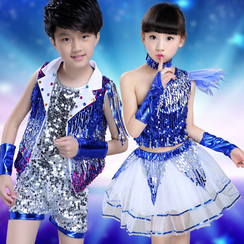 Free Shipping Sequin Boys Girls Kids Dance Hip Hop Clothes Children Stage Ballroom Jazz Costume Suits Hiphop Dancing Wear