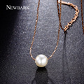 NEWBARK 7mm Charming Simulated Synthetic Pearl Necklaces & Pendants Collier For Women Contracted Delicate Chain Necklace Jewelry