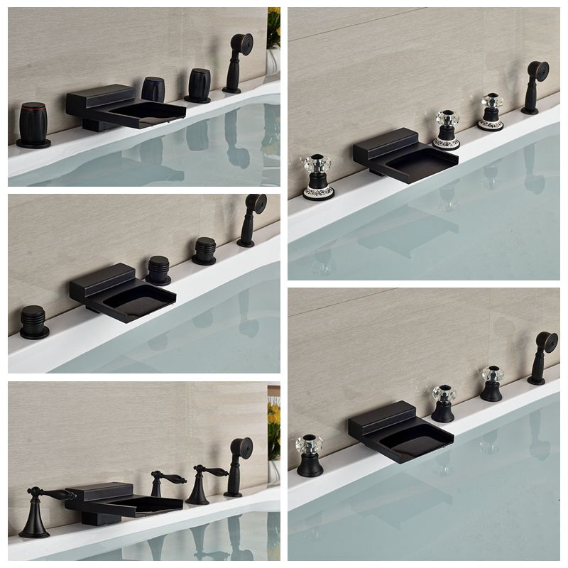 Wholesale And Retail Modern Square Oil Rubbed Bronze Waterfall Spout Brass Bathroom Tub Faucet Widespread Sink Mixer Tap
