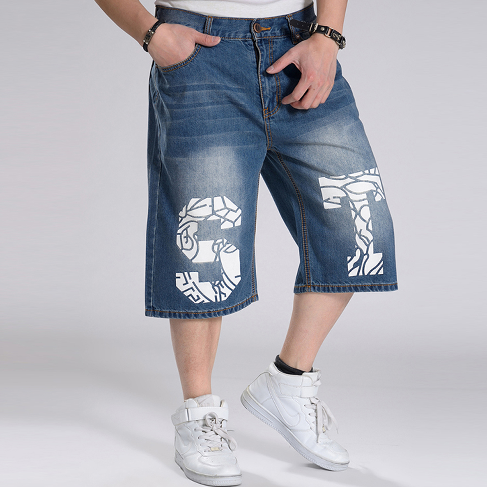 2017 Casual Hip Hop men male Joggers Clothing Exercise Jeans Shorts Men Washing Denim Summer Baggy Loose Calf Pants Plus Size large size high street hip hop hole patch baggy jeans men s brand men loose denim pants male fashion casual denim harem trousers