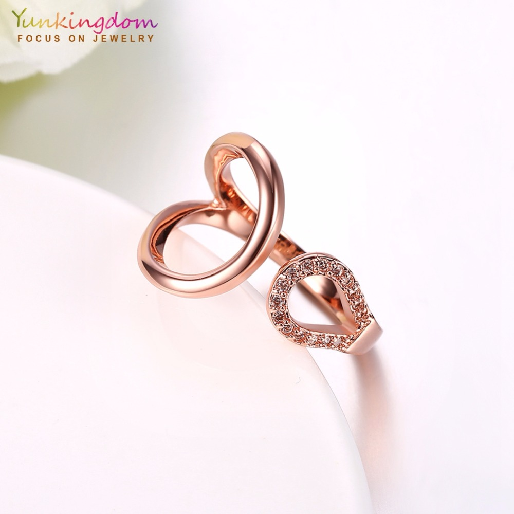 Yunkingdom simple design rose gold color jewelry cubic zirconia ...