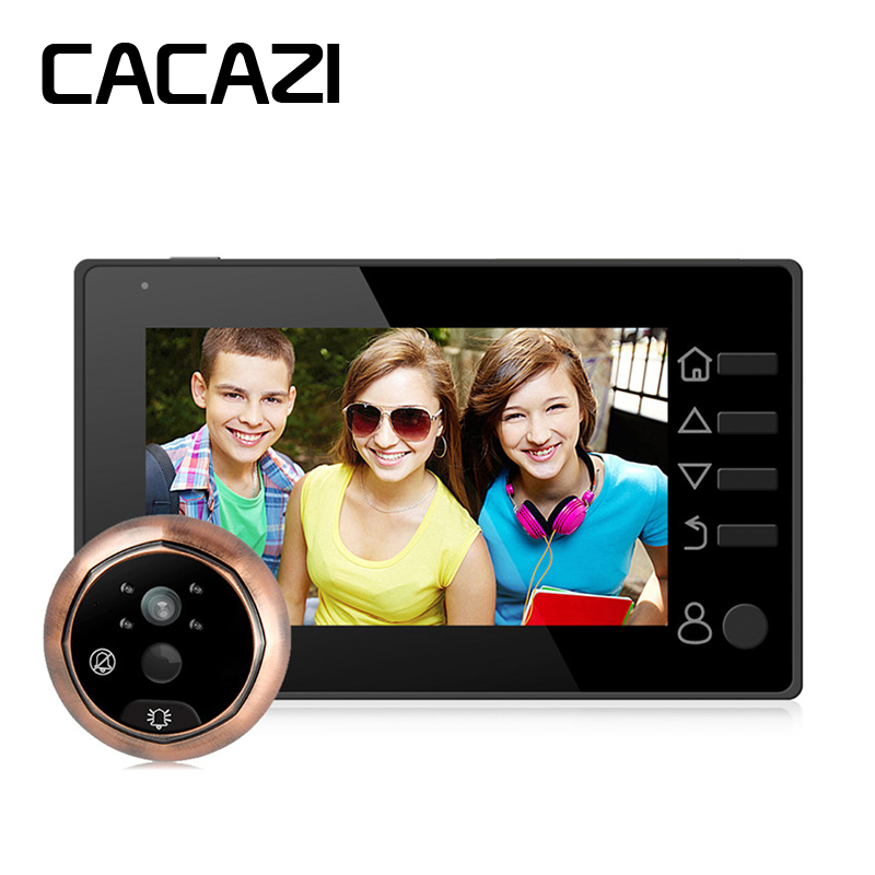 CACAZI 4.3 inch Night Vision LCD Color Digital Door Viewer Voice Intercom Recordable Peephole Doorbell Home Security Camera