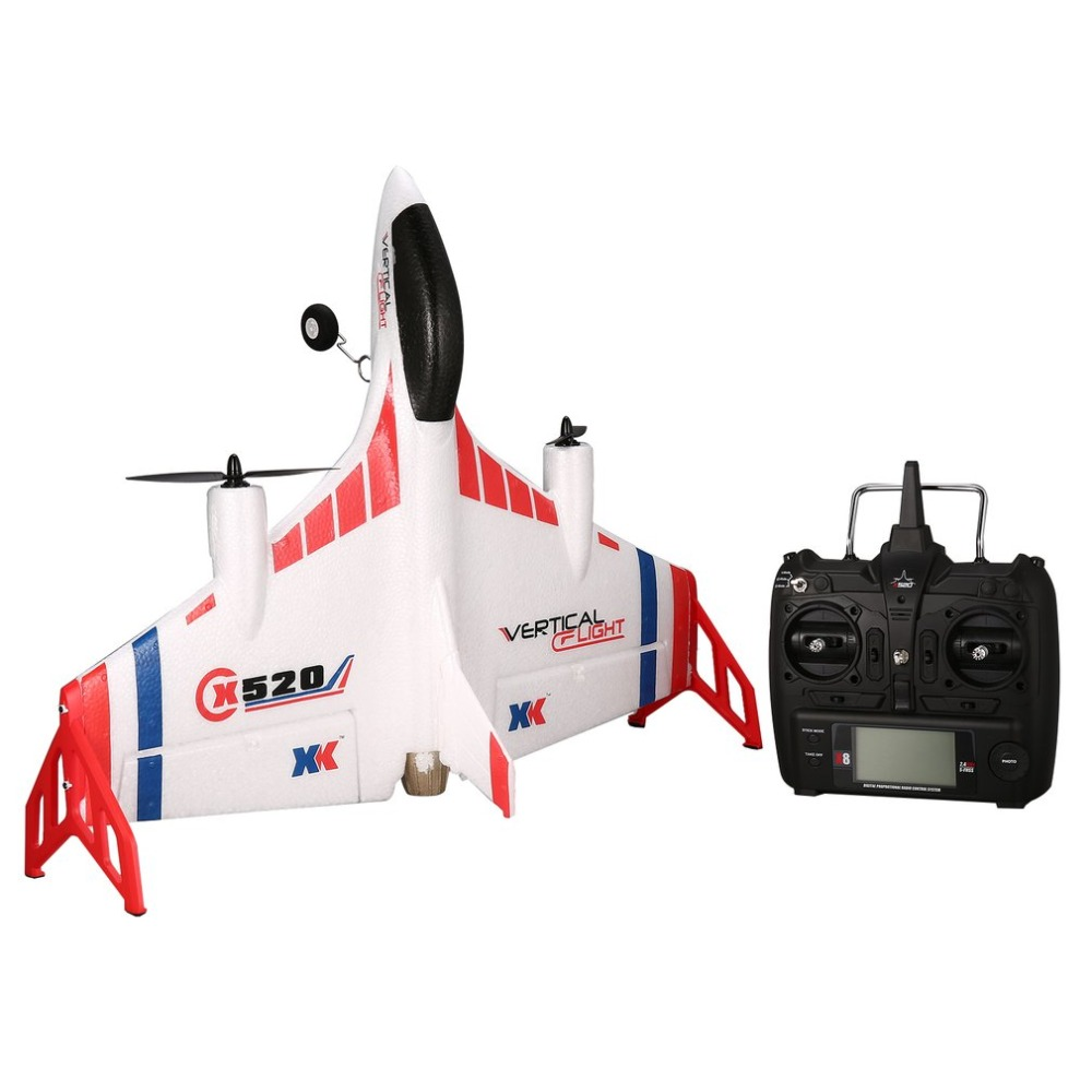 XK X520 RC 6CH 3D/6G Airplane VTOL Vertical Takeoff Land Delta Wing RC Drone Fixed Wing Plane Toy with Mode Switch LED Light ToyXK X520 RC 6CH 3D/6G Airplane VTOL Vertical Takeoff Land Delta Wing RC Drone Fixed Wing Plane Toy with Mode Switch LED Light Toy