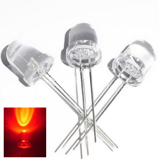 10Pcs F10 10mm Red LED Diode