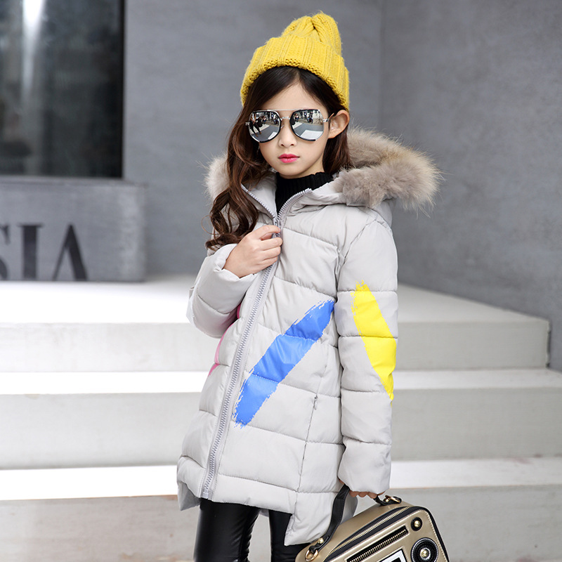 Winter Jacket for Girls Casual Print Letter Long Thick Hooded Zipper Children Coats Kids Girls Outerwear 6 8 10 12 14 Years