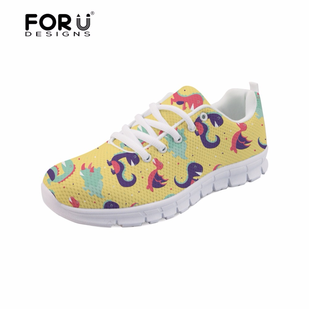 FORUDESIGNS Lace Up Light Weight Flats Shoes for Lady Cute Dinosaur Print Casual Women Air Mesh Breathable Walking Shoes Sneaker instantarts cute animal husky cat head print women fashion flats shoes air mesh sneakers for ladies lace up light weight shoes