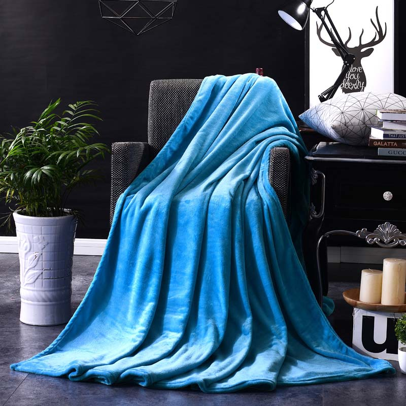 Image 4 - CAMMITEVER Home Textile Pure Color White Coffee Green Solid Air/Sofa/Bedding Throws Flannel Blanket All Seasons Soft Bedsheet-in Blankets from Home & Garden