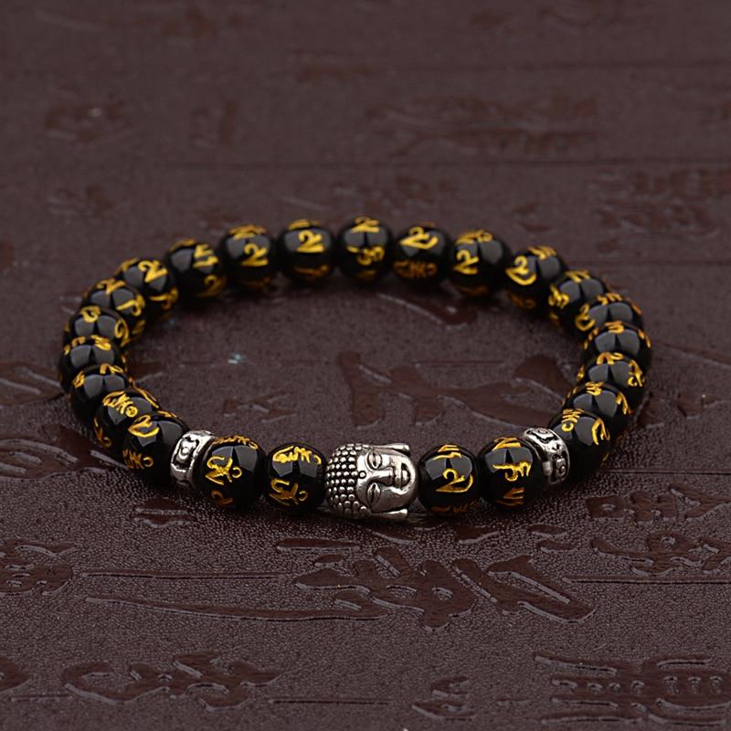 Women's Retro Tibetan Black Beads Carve Mantra Om Mani Amulet Bracelet Men Vintage Buddhist Meditation Jewelry AB285