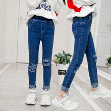 Teenage Children Girls Jeans 2019 Fashion Elastic Waist Denim Pants Kids Skinny for Girl Ripped Trousers Clothes 4-13