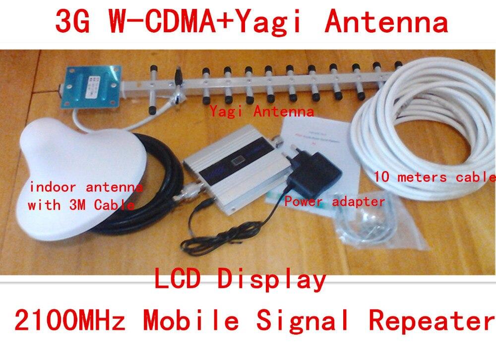LCD Affichage 3G WCDMA 2100 mhz Signal Booster Repetidor 2100 MHz GSM Signal Booster Signal de Téléphone Cellulaire Amplificateur Avec 3G Antenne
