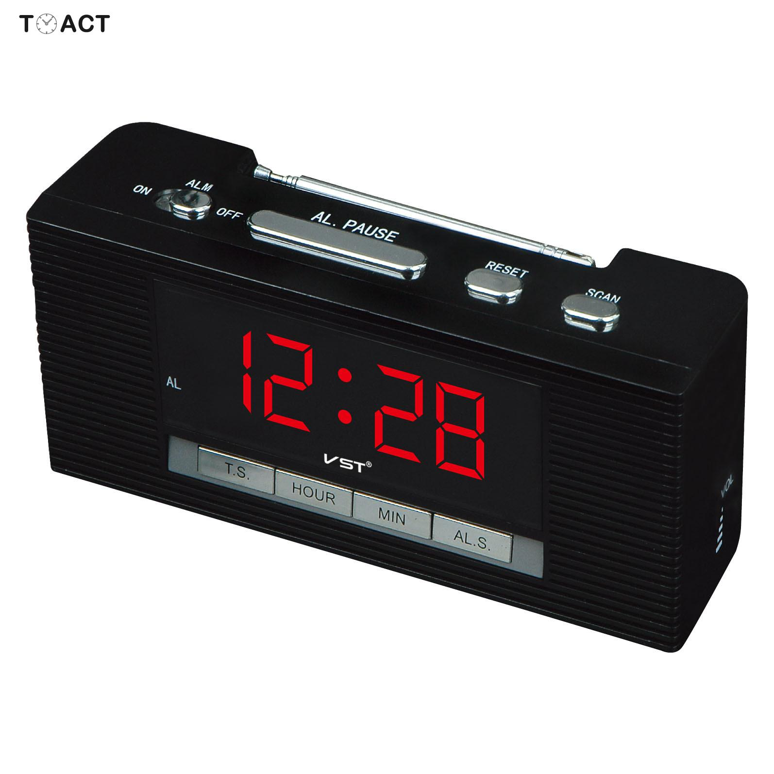 US $18.95 15% OFF|LED Clock FM Radio Alarm Clock Night Watch Electronic Table Digital Watches Luminova Bedroom Home Decor Best For Gift|Alarm Clocks|