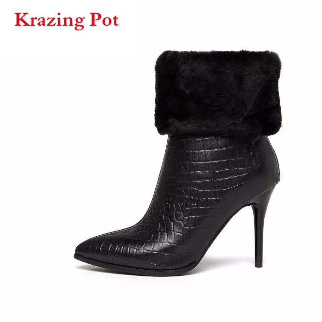 2018 Brand Winter Shoes Black Pointed Toe Women Mid-calf Boots Genuine Leather Warm Office Lady High Heel Causal cozy Boots L91