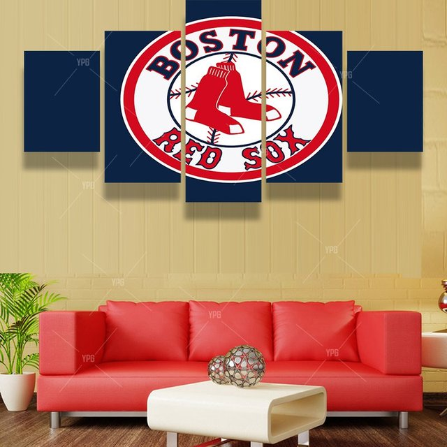 5 Panels Boston Red Sox Sports Team Fans Oil Painting For Living ...