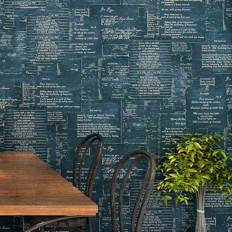 American Retro 3D Stereo English Letter Wallpaper Personality Living Room Cafe Restaurant Clothing Store Non-Woven Wall Paper 3D