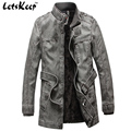 Letskeep 2016 New Mens Winter PU Leather Moto jacket Thicken long trench coat Jackets Outerwear Men Collar Overcoat M-4XL, MA205
