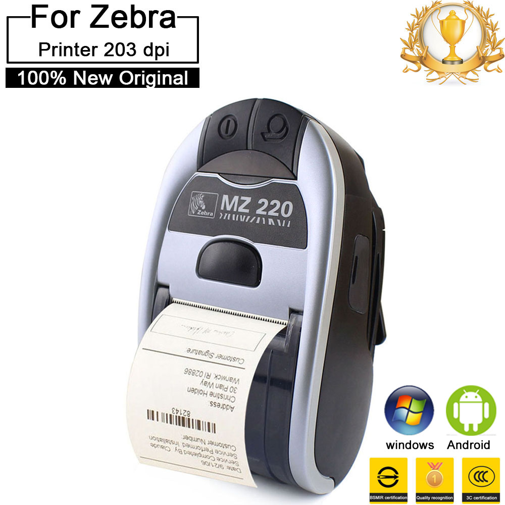 10 pcs Brand New Original portable thermal printer For Zebra MZ220 203 dpi Wireless Bluetooth Mobile ticket thermal printer 80mm image
