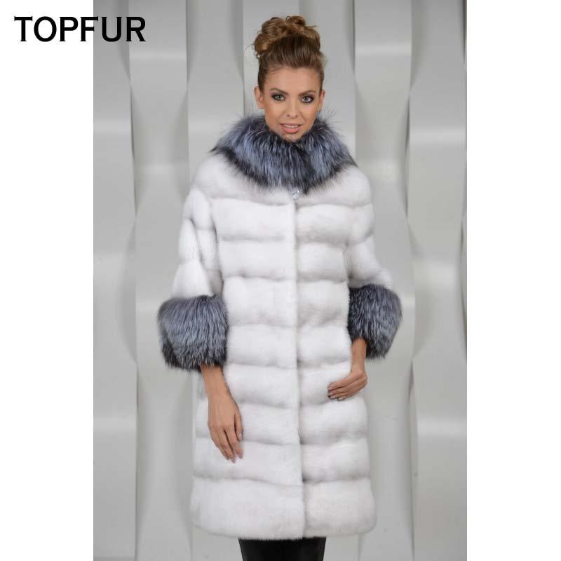 TOPFUR 2019 nouveauté peau pleine véritable manteau de fourrure de vison femmes avec col en fourrure de renard argenté et manchette Top qualité veste de fourrure de vison
