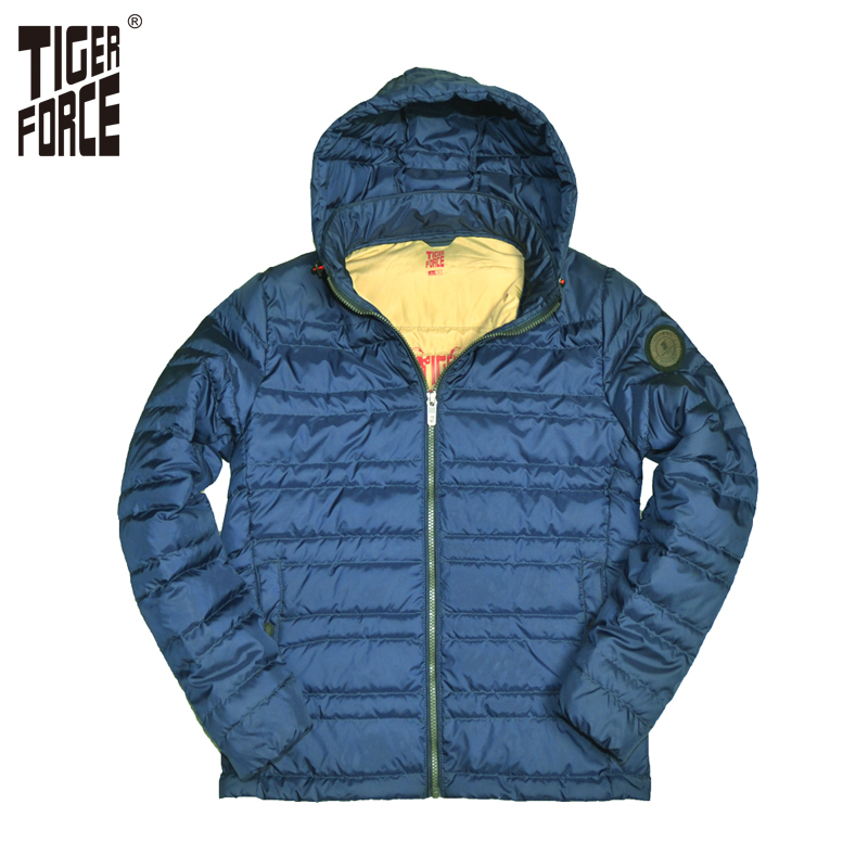 TIGER FORCE 2017 New Arrival Men Fashion Padded Jacket Hooded Thin Cotton Padding Coat Polyester Detachable Hood Free Shipping