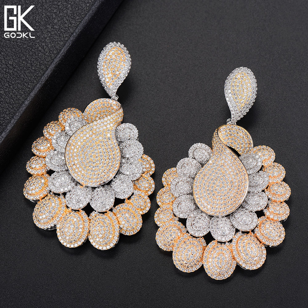 GODKI Luxury Princess Peacock Flower Big Dangle Earrings For Women Wedding Cubic Zircon CZ 2 Tone