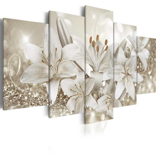 Us 11 0 2019 No Frame 5pcs Set Fashion Wall Art Canvas Painting Orange Silver Purple Lily Flower Modern Home Decoration In Painting Calligraphy