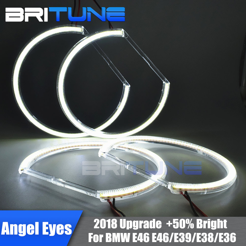 2018 Upgrade COB LED Angel Eyes Halo Ring For BMW E46 E39 E38 E36 Cars 3 5 7 Series Xenon HID Headlight Retrofit Silverado 131mm2018 Upgrade COB LED Angel Eyes Halo Ring For BMW E46 E39 E38 E36 Cars 3 5 7 Series Xenon HID Headlight Retrofit Silverado 131mm