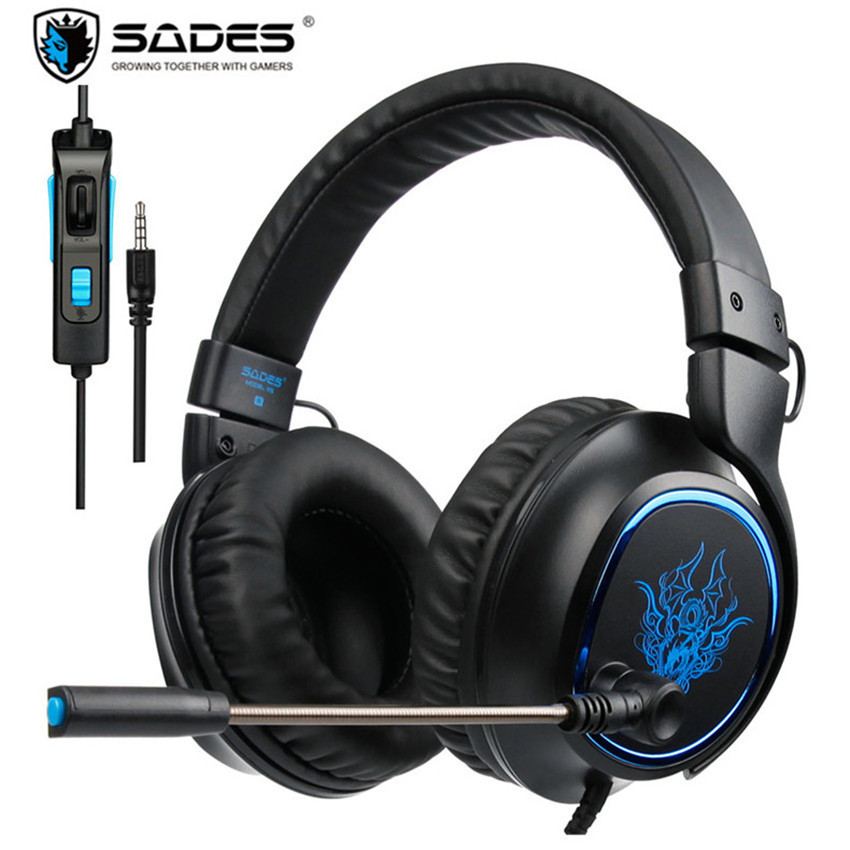 SADES R5 Headband Headset Gamer Casque PC Gaming Headphones Stereo Earphone with Mic for Computer Xbox one Mobile Phone Laptop sades wings headphones 3 5mm phone call and music earphone portable in ear gaming headset for pc xbox one ps4