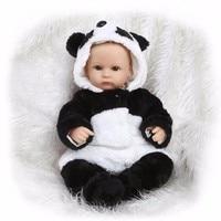 Panda Cloth 17inch Reborn Doll Lifelike Newborn Baby Doll Realistic Doll Reborn Babies 55cm Silicone Reborn