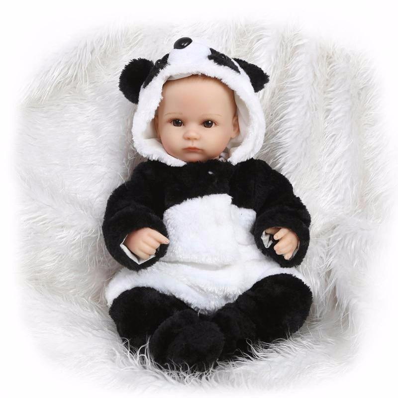 Panda Cloth 17inch Reborn Doll Lifelike Newborn Baby Doll Realistic Doll Reborn Babies 55cm Silicone Reborn Baby Dolls Toys babies стульчик для кормления h 1 babies panda