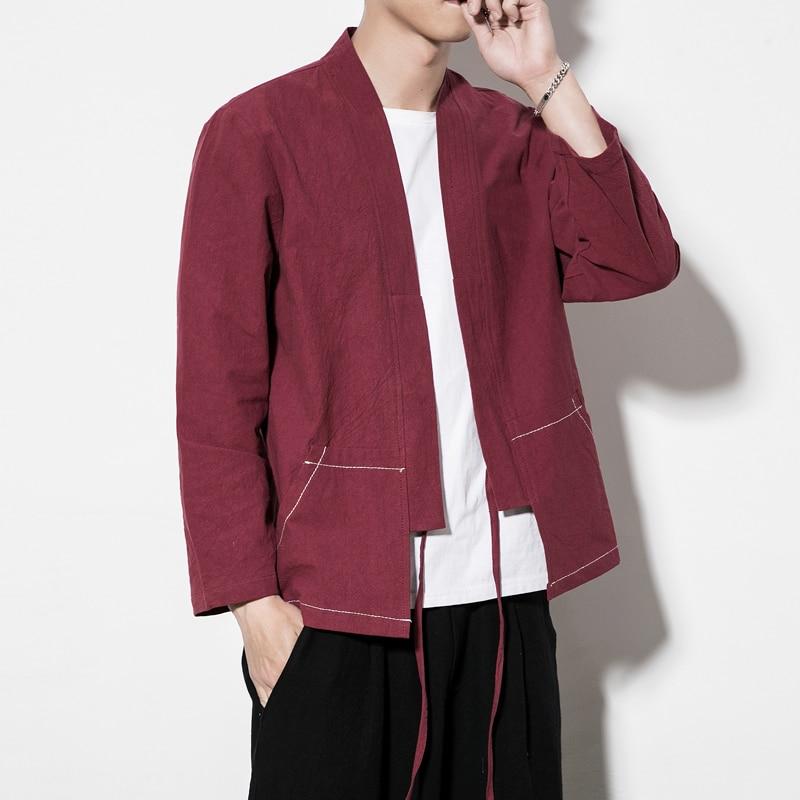Men's Chinese Style Coat Male Casual Kimono Cardigan Shirt Style Jacket Autumn Spring Clothing Plus Size M 5XL
