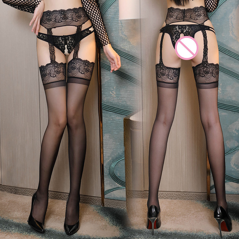 Women Sexy Lingerie Lace Top Thigh High Stockings With Garters Female Hot Elastic Black Nylon Stockings Pantyhose Hosiery