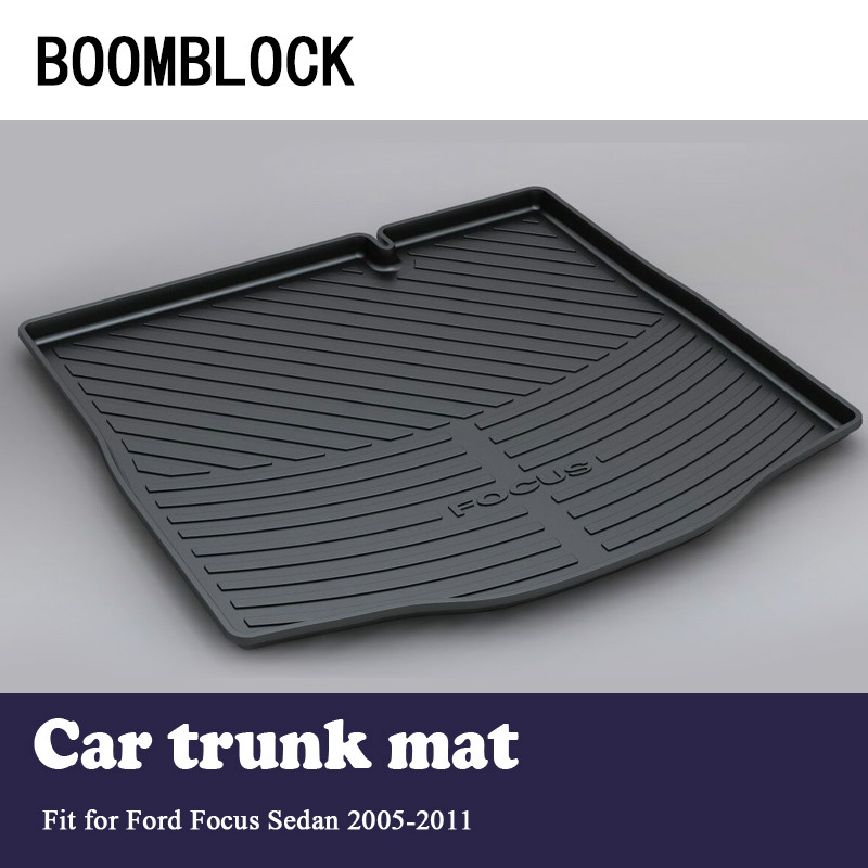 BOOMBLOCK For Ford Focus 2 Sedan 2005-2011 Waterproof Anti-slip Car Trunk Mat Tray Floor Carpet Pad Protector Auto Accessories trunk tray mat for ford focus hatch back premium waterproof anti slip car in heavy duty black