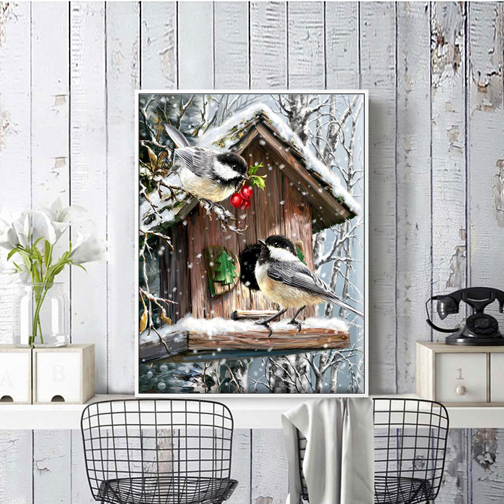 Meian Cross Stitch Embroidery Kits 14CT Birds House Cotton Thread Painting DIY Needlework DMC New Year Home Decor VS-0137