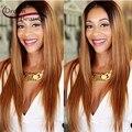 Sueño de Belleza de la virgen del pelo humano peluca de pelo de dos tonos ombre completo del cordón peluca recta 130% sin cola frente del cordón de la peluca mejor peluca ombre