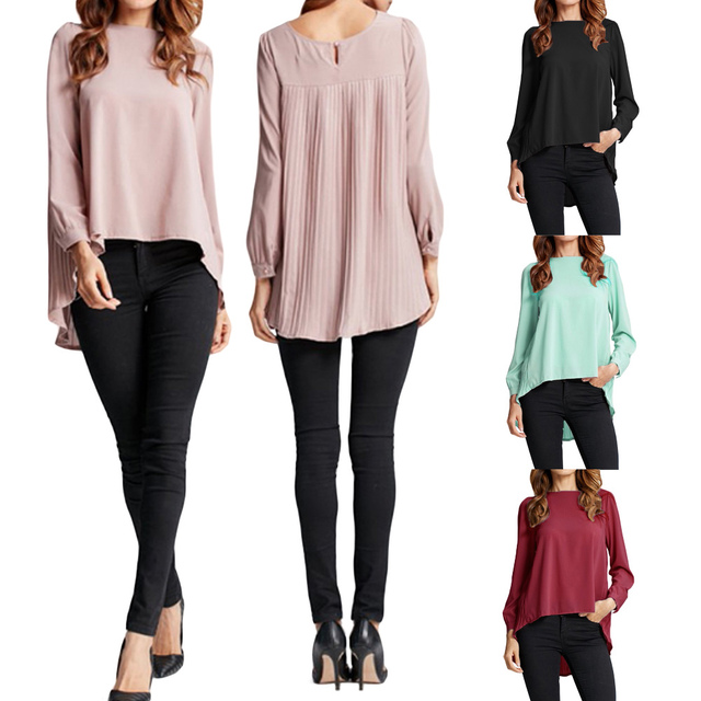 Oversized Long Sleeve Chiffon Pleated Casual Plus Size Women Tops