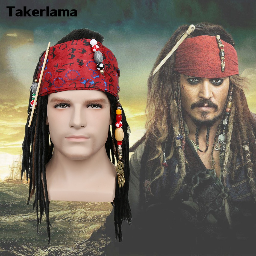 Takerlama Pirates of The Caribbean Pirate Captain Wig Exact Wig Bandana Dreadlock DLX Jack Sparrow Wig Hat Cosplay Costume pirates of the caribbean cosplay captain jack sparrow shoes men s superhero pirate deep brown boot custom made