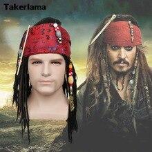 Takerlama Piratas del Caribe pirata capitán peluca exacta Bandana Dreadlock  DLX Jack Sparrow peluca sombrero Cosplay disfraz abd9ccbc521