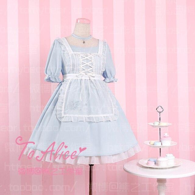 Halloween Kawaii Girls Alice in Wonderland Style Maid Dress Poker Embroidery Oganza Apron + Short Sleeve Dress Fancy Lolita
