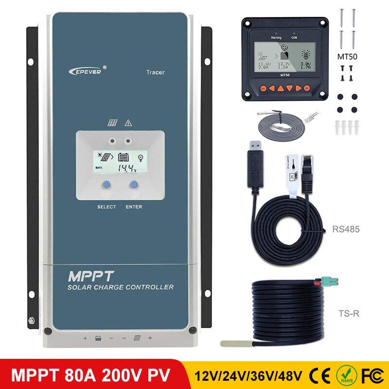 EPever 80amp MPPT Controlador de Carga Solar 48 V/36 V/24 V/12 V Terra Negativo Backlight LCD Regulador De Entrada Max PV 200 V VOC