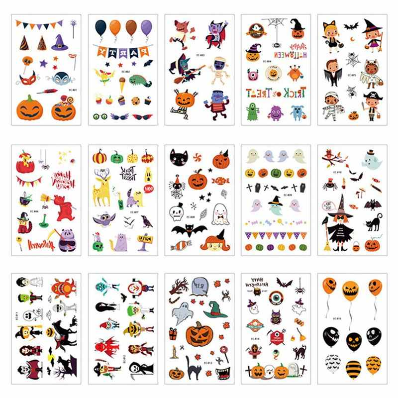 Halloween Series Of Super-fire Tattoo Stickers Horrible Pumpkin Head Design Suitable For Boys And Girls Tattoo.