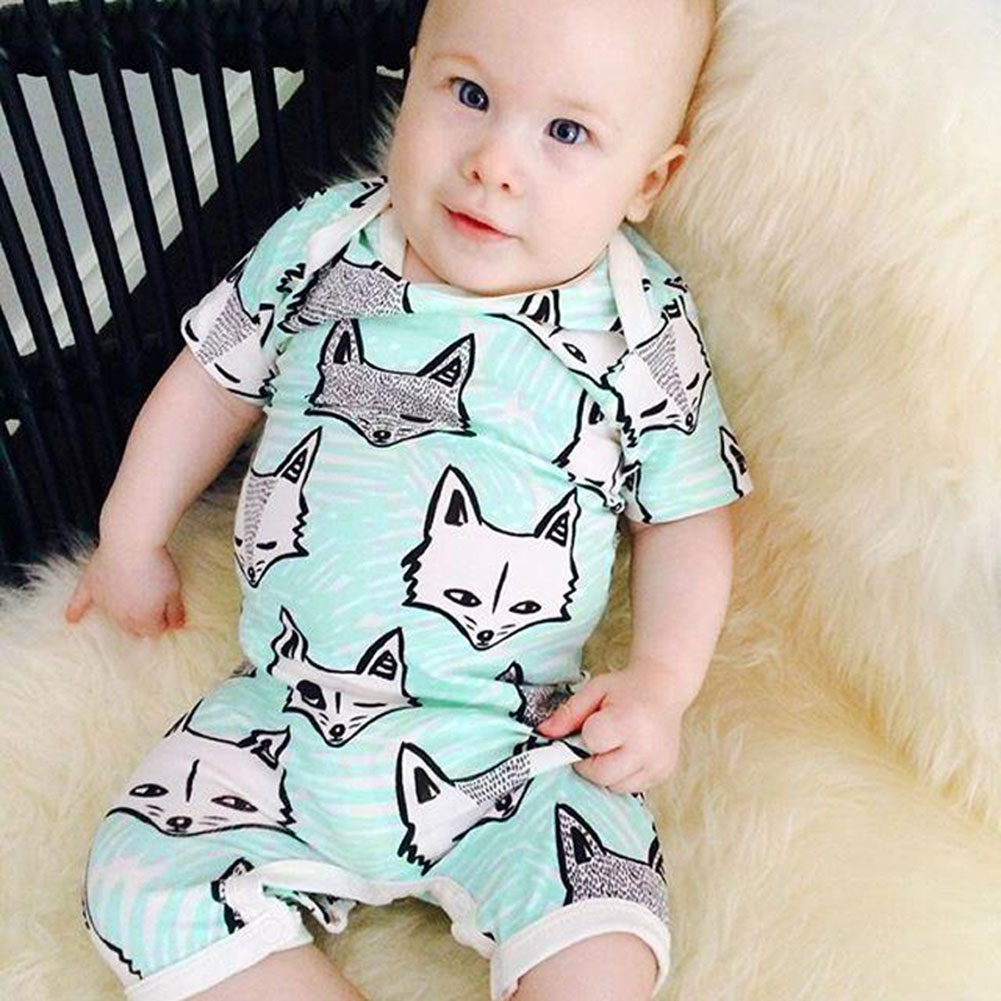 Cartoon Fox Baby Romper Body Suit Cotton Short Sleeve Baby Boys Girls Clothing Jumpsuit with Fox Bib 2pcs/set baby boys romper girls jumpsuit kids clothing summer newborn love cartoon cotton baby body suit cartoon long sleeve clothes