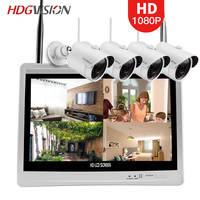HDGVISION 4CH 1080P CCTV 4PCS Power Outdoor Waterproof Surveillance System WIFI Wireless Day Night Vision IP