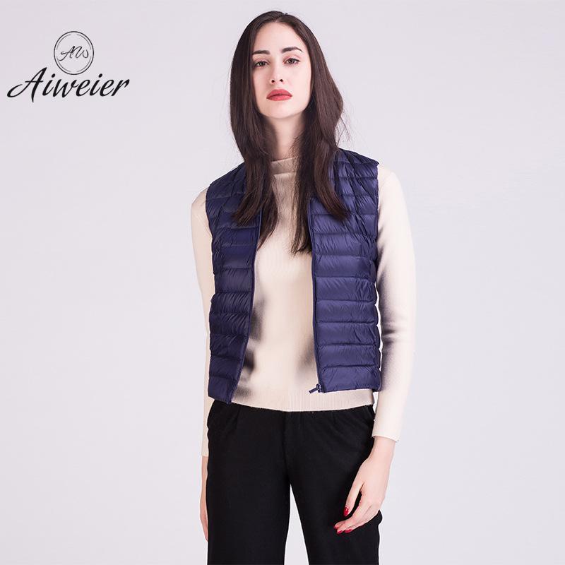 [Aiweier] Plus Size Ultra Light Down Jacket Women Sleeveless Thin Zipper Solid Vest Fashion Korean Warm Coats For Girls ALAB01
