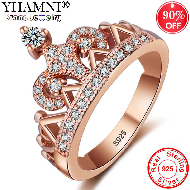 NEW Original 925 Solid Silver My Princess Queen Crown Ring Cubic Zircon Jewelry Rose Gold Color Wedding Rings For Women ARK036