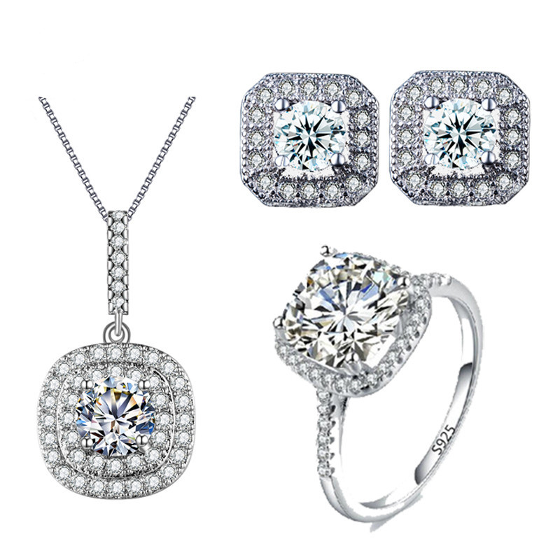 Mode warna Putih Emas Pernikahan Jewelry Set AAA CZ Kalung Set Engagement Ring Earring Dan Kalung Set Bijoux ASM006
