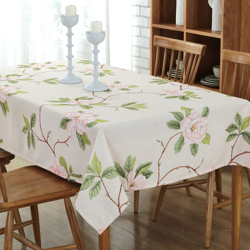 Cotton Table Cloth Coffee Tea Table Flower Floral