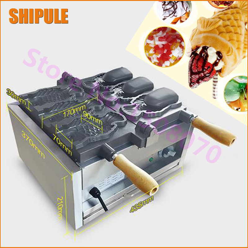 SHIPULE 2018 Electric Japanses 3 fish open mouth ice cream taiyaki maker fish waffle making machine price taiyaki fish maffle maker waffle ice cream machine