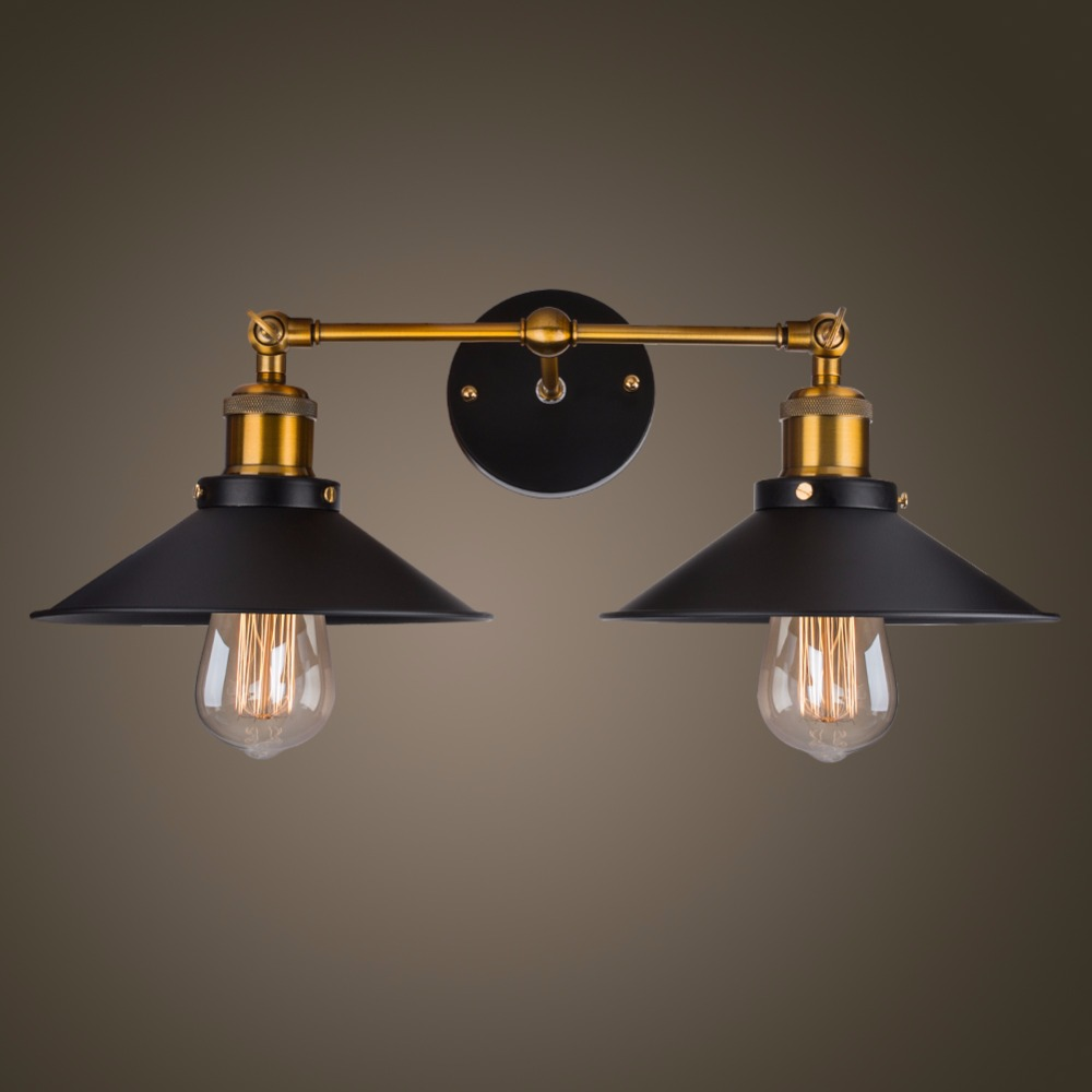 Modern Vintage Loft Metal Double Heads Wall Light Retro Brass Wall Lamp Country Style E27 Edison Sconce Lamp Fixtures 110V/220V-in LED Indoor Wall Lamps from Lights & Lighting    3